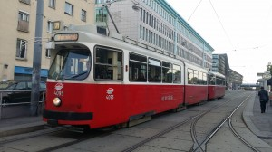 One of Vienna's famous trams outside the Vienna Biosciences Centre